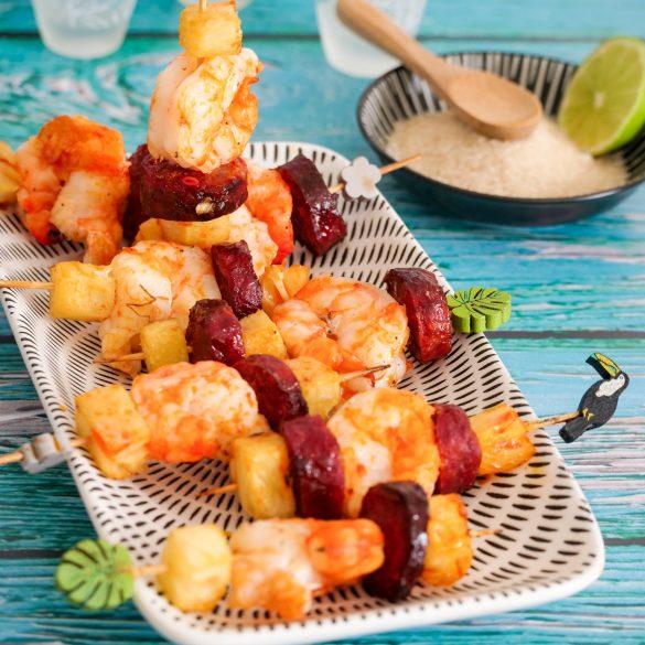 Brochettes de ouassous au chorizo et ananas